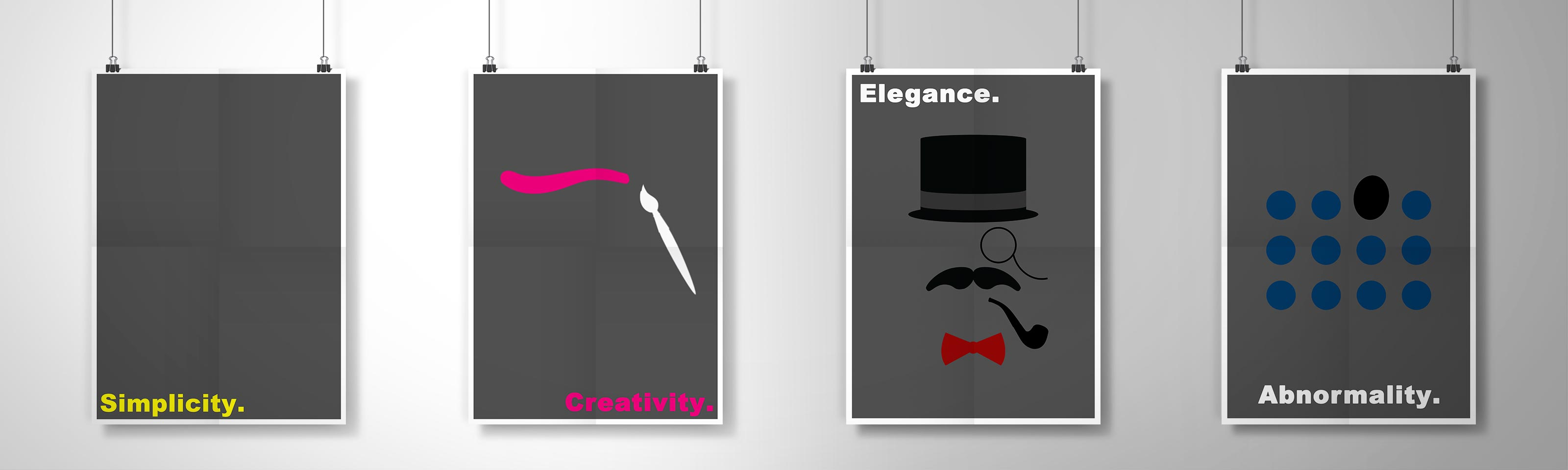 4 posters describing 4 words